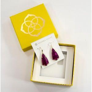 Kendra Scott Carla Purple Jade Gold Drop Earrings